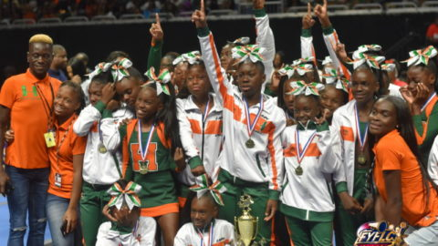 The Cheerleaders of the FYFL Bring the NOISE at the Annual Cheer Competiton
